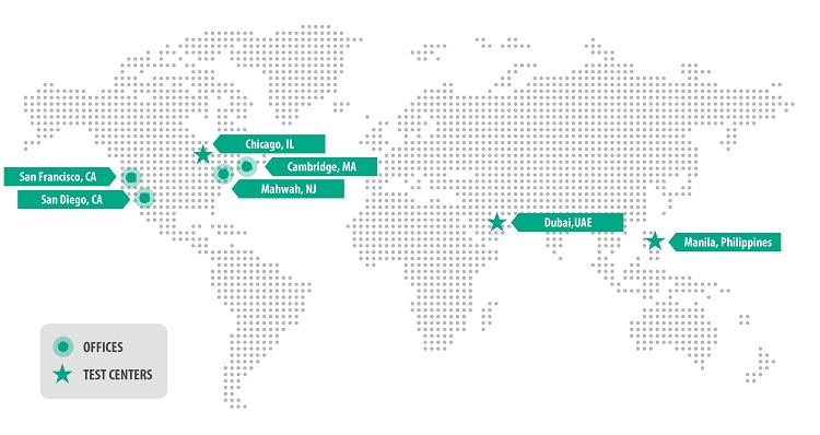 A map of Arbour Group's international offices and testing centers